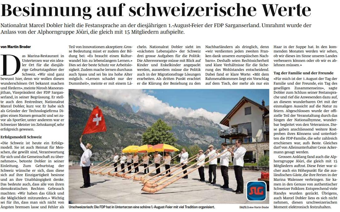 Besinnung auf schweizerische Werte